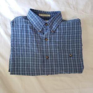 Orvis Blue Plaid Button Front Shirt